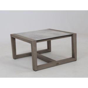Table basse SKAAL 65x65 cm en teck DURATEK et plateau HPL Béton ciré.
