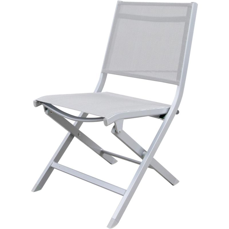 Chaise ocean aluminium blanc toile textil ne blanche pliante - Chaise pliante toile ...
