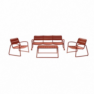 Set BARI coloris ORANGE - (canapé 3 places + 2 fauteuils + 1 table basse) - Garden Art