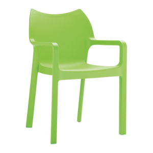 Fauteuil Diva en polypro coloris tropical green, empilable H84xL57xP53xHA46 cm