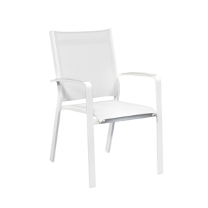 Fauteuil Cosmo aluminium blanc toile sling coloris blanc, empilable