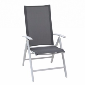 Fauteuil multiposition YORK - blanc silver black - GARDEN ART