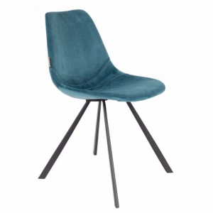 Chaise Franky en velours Bleu pétrole - Dutchbone