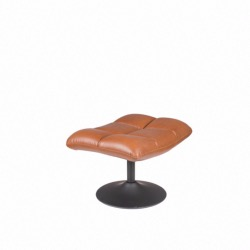 Repose Pied BAR HOCKER en Cuir Camel Vintage Pouf - DUTCHBONE