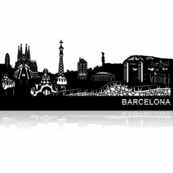 Decoration murale Skyline BARCELONE 68cm en métal decoupe
