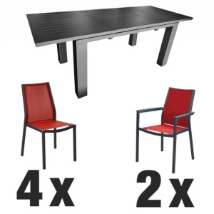 Table ELISA grise + 4 chaises IDA rouge + 2 fauteuils IDA rouge