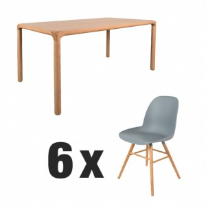 Table Storm naturel 180x90 + 6 chaises Albert Kuip Grise