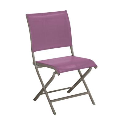 Chaise ELEGANCE châssis alu taupe toile coloris lilas  pliante OCEO