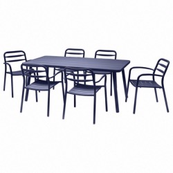 Set BASEL coloris BLEU - (1 table + 6 fauteuils) - Garden Art