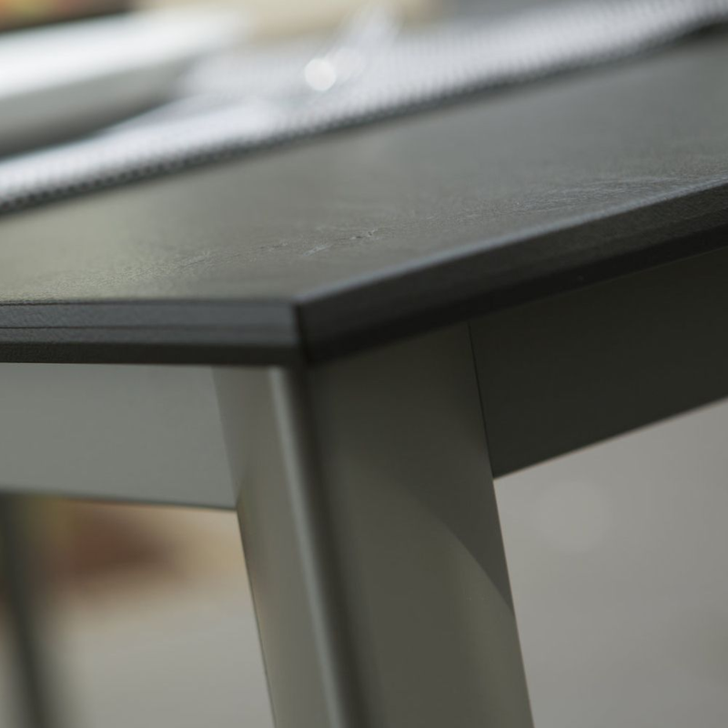TABLE LOFT 159/219/279 chassis alu anthracite plateau plein Look ...