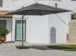 PARASOL DEPORTE 3X3 ELIOS toile polyester 250gr GRIS, mât aluminium TAUPE 83x58mm OCEO