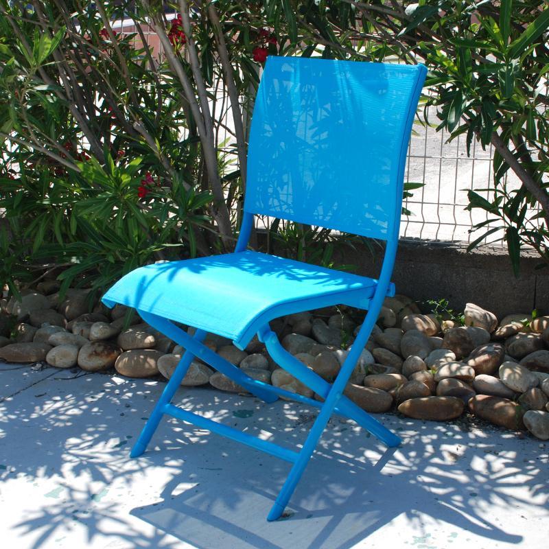 chaise elegance pliante bleu. Black Bedroom Furniture Sets. Home Design Ideas
