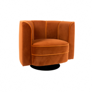 Fauteuil lounge en velours Flower - Dutchbone