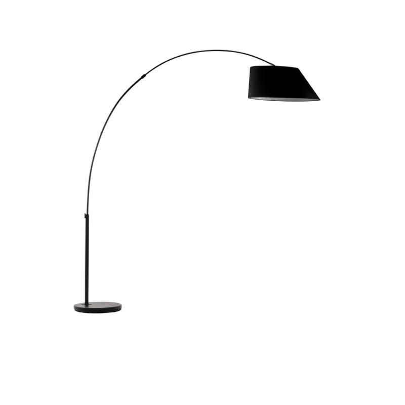 lampadaire arc floor coloris noir et abat jour asym trique noir. Black Bedroom Furniture Sets. Home Design Ideas