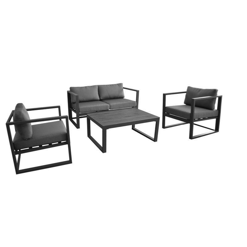salon bas d 39 ext rieur manhattan 2 fauteuils 1 canap 2 places 1 table basse alu gris ebene. Black Bedroom Furniture Sets. Home Design Ideas