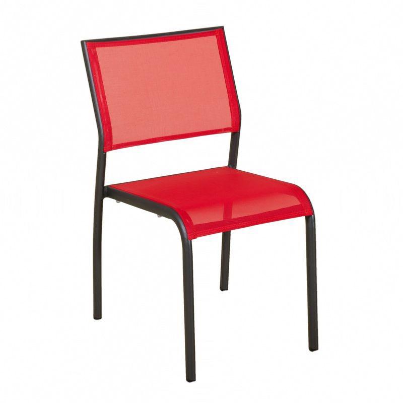chaise empilable ticao aluminium gris toile pvc gris corail h85xl48xp56cm. Black Bedroom Furniture Sets. Home Design Ideas