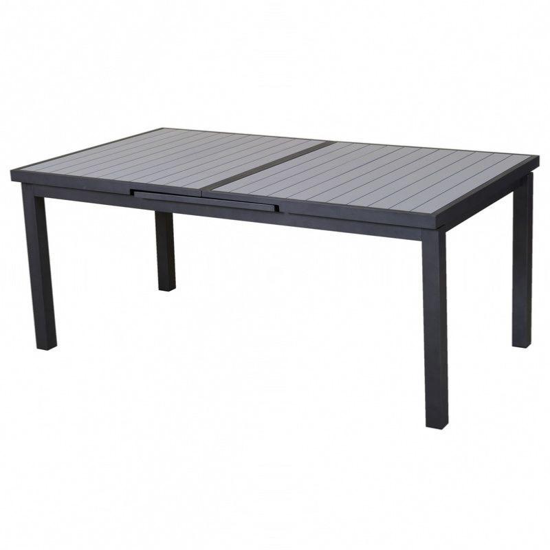 Table Lenny up 180/240X100cm en alu gris / gris clair, rallonge automatique