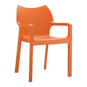 Fauteuil Diva en polypro coloris orange, empilable H84xL57xP53xHA46 cm