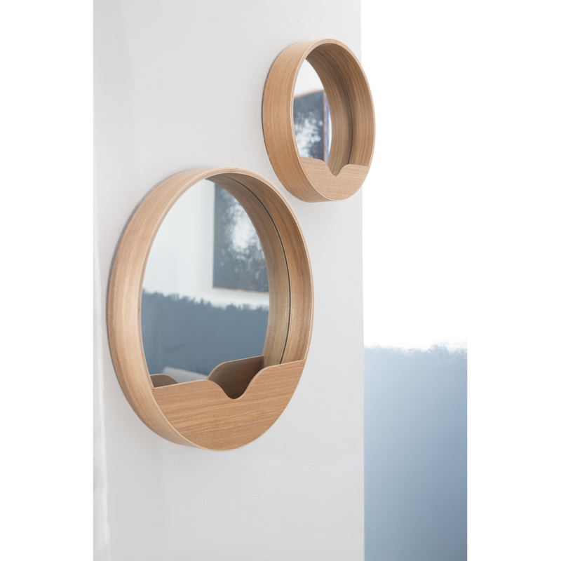 Miroir round wall 40cm cadre agglom r en ch ne coloris for Miroir zuiver