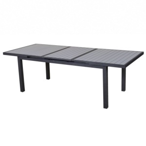 Table Lenny up 135/179X75cm en alu gris / gris clair, rallonge automatique