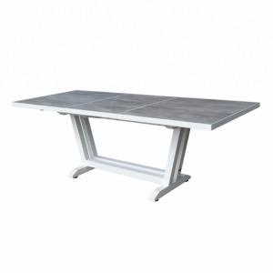 AMAKA - Table 170/230X90cm - pied blanc - plateau HPL aspect béton ...