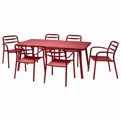 Set BASEL coloris ROUGE - (1 table + 6 fauteuils) - Garden Art