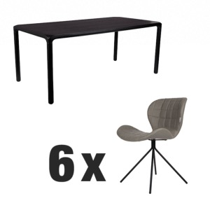 Table STORM Noire 180x90 + 6 chaises OMG LL Grey