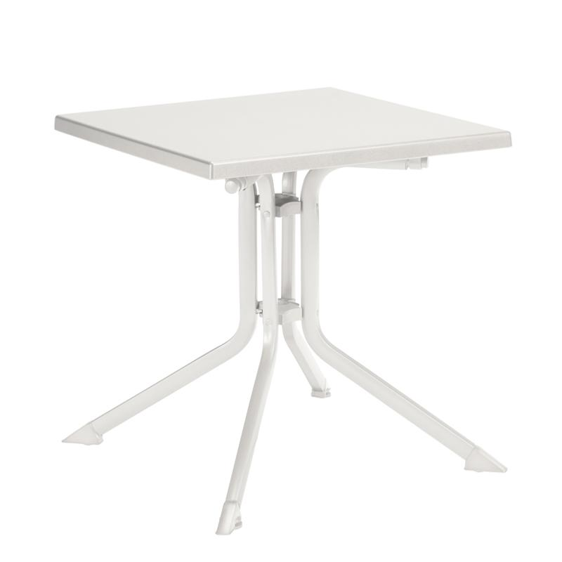 Table kettalux 70x70 blanc blanc for Table exterieur kettler