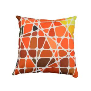 COUSSIN DECOR MOTIF 45x45 GALET ORANGE