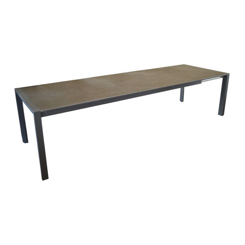 Table Milo 310 châssis alu époxy GREY céramique EBONY de 6mm plus ...