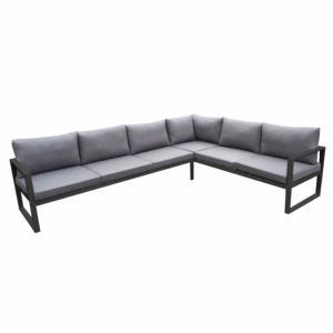 Canapé d\'angle SOLARO aluminium gris, coussins déhoussables gris - 6 places