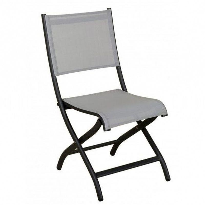 Chaise pliante BALE anthracitegris clair Les Jardins