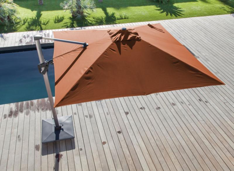 Parasol d port 3 x 3 m elios orientable m t coloris royal grey toile paprika - Parasol deporte orientable et inclinable ...