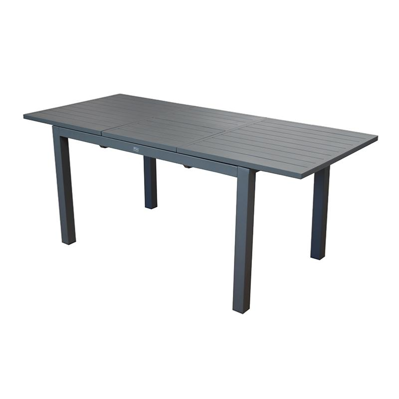 table trieste 130 180x80 en aluminium epoxy coloris gris allonge papillon proloisirs. Black Bedroom Furniture Sets. Home Design Ideas