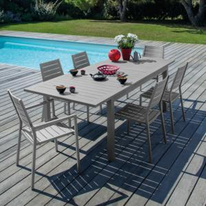 TABLE TURIN 155/215 ALUMINIUM TAUPE ALLONGE PAPILLON OCEO