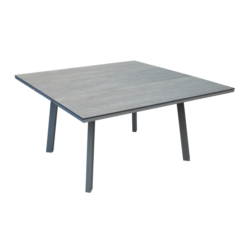 Table barsa 100 140x140 chassis grey plateau trespa brun for Table 140x140 design