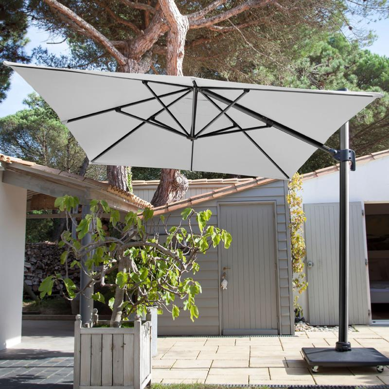 Parasol alizee 300x400 grey blanc - Toile de parasol 8 baleines ...