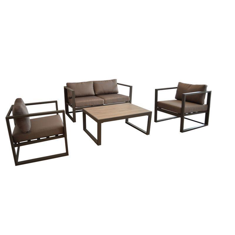 salon bas d 39 ext rieur manhattan 2 fauteuils 1 canap 2 places 1 table basse alu cafe taupe. Black Bedroom Furniture Sets. Home Design Ideas